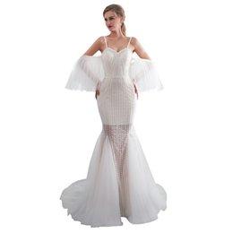 Реальное изображение 2018 Элегантное платье на плечах Свадебные платья Кружевное тюль Русалочное свадебное платье для свадебных платьев в саду