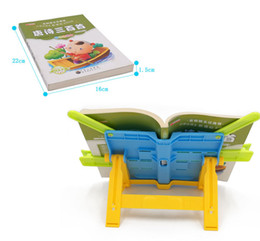 Discount desk book holder - Portable Folding Steel Book Stand Bookstand Standing Adjustable Tilt Reading Desk Holder