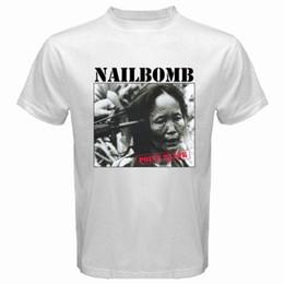 Blank T Shirt White NZ - New NAILBOMB POINT BLANK '94 Trash Punk Band Men's White T-Shirt Size S to 3XL