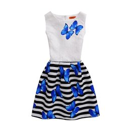 China Childrens skirt butterfly print sleeveless Kids Clothings brithday dress party slim A-line skirtBoat Neck skirt Polyester Children Dress cheap mermaid knee length dresses suppliers