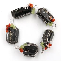 $enCountryForm.capitalKeyWord Australia - Silver Plated Wire Wraped Olivine Red Agates Natural Irregular Shape Black Tourmaline Point Pendant Jewelry