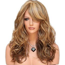 New wave loNg hair online shopping - New Sexy Mix Color Light Brown quot Long Curly Body Wave Hair Wigs Heat Resistant Synthetic Wigs with Baby Hair with Baby Hair