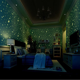 Modern hoMe wallpaper online shopping - 3D Luminous Wallpapers Roll Stars And The Moon Boys And Girls Children s Room Bedroom Ceiling Fluorescent Wallpaper Home Decor