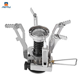 aluminum travel 2019 - AOTU One-piece Gas Stove Ultralight Camping Folding Stove Head Lighter Aluminum Alloy Base for Outdoor Camping Hiking ch