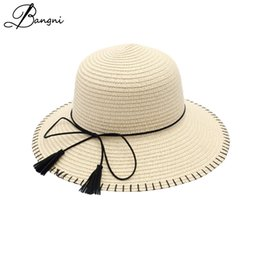 b00ee42b3d2 Wide Brim Tassel Sun Hats For Women Girl Floppy Summer Straw Hat Chapeu  Feminino Folded Floppy Bohemia Seaside Panama Beach Cap