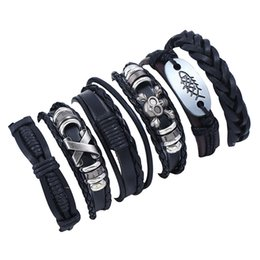 Outlet charms online shopping - CHAOMO Factory Outlet Woven Bracelet Set Leather Jewelry Retro Men s Personality Hand Strap Rock Punk Accessories