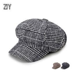 19cbc978e6511 men women winter autumn beret flat cap hat warm English Franch fasion  newsboy casual vintage tweed cotton beret trcuker hat cap