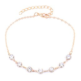 leg chain girl Canada - 2017 Charming Crystal Bride Anklet For Women Girl Simulated CZ Stone Ankle Leg Jewelry Chain Charm Bracelet Summer Jewelry
