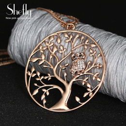 $enCountryForm.capitalKeyWord Australia - Owl life tree necklace Pendant Necklace Jewelry Accessory Women Fashion 2017 Silver Rose Gold Color Chain Crystal Long Necklaces & Pendants