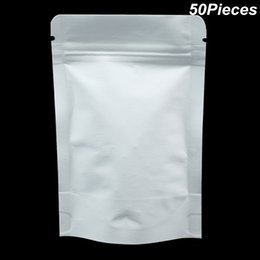 White Tea Bags NZ - Multi Sizes 50pcs Lot White Kraft Paper Aluminum Foil Zip Lock Doypack Packaging Bags for Sanck Tea Coffee Mylar Foil Reusable Packing Pouch