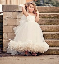 white silver kids dress NZ - Vestidos daminha Kids Pageant Gowns Fancy Girls Puffy Dresses feathers Evening Gowns Children Flower Girls Dress White