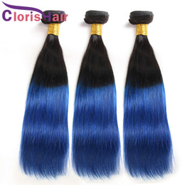 Discount dark blue human hair weave - Colored T1B Blue Ombre Brazilian Virgin Human Hair Weaves Cheap Dark Roots Silky Straight Mink Brazillian Ombre Hair Ext