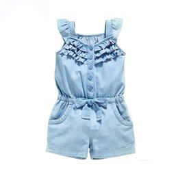Cute baby gilrs online shopping - Baby Jeans Rompers Summer and Kid Girl Clothes Clothes Cotton Rompers Wash Jeans Denim Blue Sleeveless Bow Knot Gilrs Jumpsuit Dropshipping