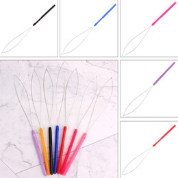Hair Feathers Tools Australia - 1Pcs Hair Extension Tool Micro Ring Bead Pulling Hoop Loop Feather Threader
