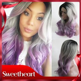 $enCountryForm.capitalKeyWord Australia - Sweetheart New Style Halloween Wig 180% Density Long Body Wave Hair Ombre Gray Purple Synthetic Lace Front Wig Heat Resistant Women Wigs
