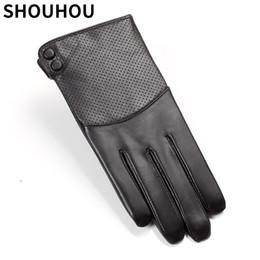 Men Gloves Leather Sheepskin Australia - SHOUHOU 2017 Men Winter Gloves Genuine Sheepskin Leather Gloves Autumn Winter Warm Lining Touch Screen Mittens