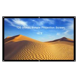 Pantalla de proyección portátil de 120 pulgadas 16: 9 Pantalla de proyección plegable simple Frente de poliéster trasero para cine en casa