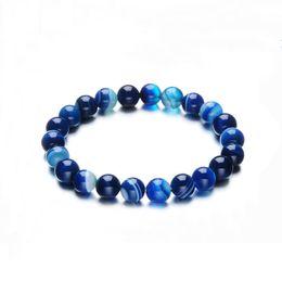Модные 10мм Камнеобрабатывающей Любовь синего бисер браслет Vintage Charm круглого бисер браслеты ювелирные изделия для женщин Friend подарка  на Распродаже