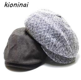 6864a3f3 New Beckham Winter Hat Men Wool Blend Newsboy Cap High Quality Beret Retro  Striped Octagonal Hat for Men Women Hats