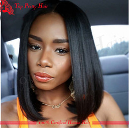 european glueless human hair wig Australia - Layered Short Black Wigs Human Hair Bob Glueless Full Lace Wigs With Baby Hair Kinky Straight Lace Wigs For Black Women