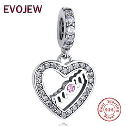 b0d5420d1 EVOJEW MOM Charm 100% 925 Sterling Silver Heart Beads Charm Cubic Zirconia Charm  Fit Pandora Bracelet DIY Jewelry Making For Mother Gift