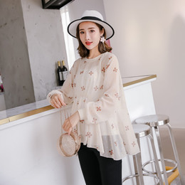 8284db8ed6222 ElEgant clothEs for prEgnant womEn online shopping - Summer Fashion  Transparent Maternity Blouses with Camis Hot