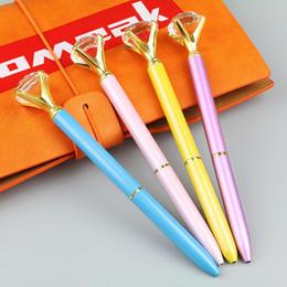 Discount gems pen - Creative Multi-color Rotating Magical Pen Kawaii Ballpoint Pen Big Gem Metal Ball With Large Diamond Fashion School Supp