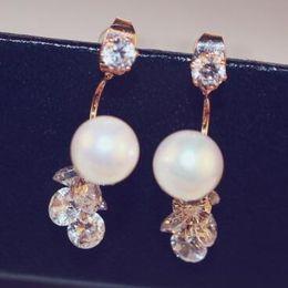 $enCountryForm.capitalKeyWord NZ - Korean celebrity Pearl Zircon Earrings for Women Party Wedding Fine Jewelry Fashion Accessories Vintage Gold Plated Earrings