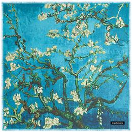 Inverno caldo donne stampa floreale blu piazza di lana pashmina cashmere di lusso design signore di spessore stole scialli sciarpe 130 * 130 dropshipping