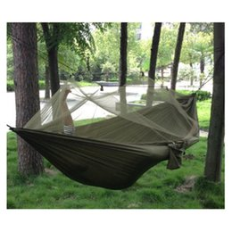 Discount outdoor mosquito netting - Wholesale! Portable High Strength Parachute Fabric Hammock Hanging Bed For Outdoor Camping Travel With Mosquito Net Army