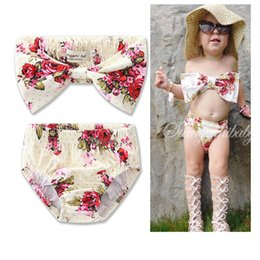 $enCountryForm.capitalKeyWord Canada - Ins Baby Two-pieces Swimwear Summer Flower printed Toddler Baby Beachwear tops + shorts Swimsuit Bikini Bathing Suit