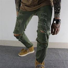 Wholesale blue ripped jeans punk rock resale online – designer Autumn Fashion Blue men s jeans ripped pants Punk Rock style elasticity casual Holes trousers cool stretch man denim pants