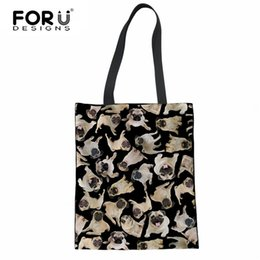 bff33b3b10db FORUDESIGNS Cute 3D Pug Dog Print Women Reusable Cotton Shopping Bags  Casual Female Shoulder Bags Large Capacity Linen Tote