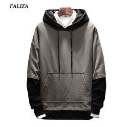 $enCountryForm.capitalKeyWord Canada - FALIZA 2017&2018 New Spring Autumn Hoodies Men Fashion Brand Pullover Fake Two Pieces hoodie sweatshirt Hip Hop Hoodie 5XL SMWYA