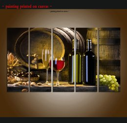 contemporary frames canvas prints Australia - Large 5 Panel Modern Abstract Grapes Wines Fruits Painting Canvas Print Pictures Kitchen Wall Art Contemporary For Home Decor Gift ASet236