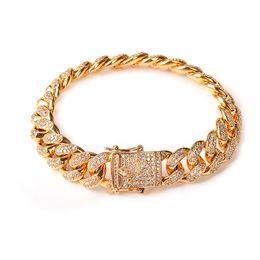 Discount silver cz tennis bracelet - 14MM Men Zircon Curb Cuban Link Bracelet Hip hop Jewelry Gold Silver Thick Heavy Copper Material Iced Out CZ Chain Brace