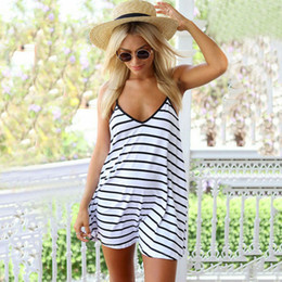 2018 New Summer Womens Dress Black White Stripes Dresst Loose Skirt Col Halter Jupe Plage Casual Sexy Dress S-XXL Taille
