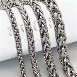 punk rock necklaces 2019 - whole saleBraided Link Wheat Chain Necklace Men Necklace Stainless Steel Jewelry High Quanlity Women punk rock biker gif
