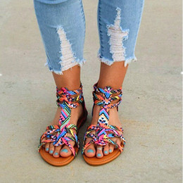 $enCountryForm.capitalKeyWord Canada - Plus Size 34-43 Ethnic Bohemian Summer Woman Pompon Sandals Gladiator Roman Strappy Embroidered Shoes Women Flat Sandals