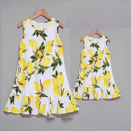 Wholesale summer jumpers for sale – dress 2018 Family Matching Outfits Mother and Daughter Summer New Fruit Printing Jumper Dress Princess Dresses Colors