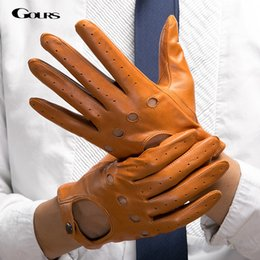 Leather Wrist Gloves Australia - Gours Men's Fall and Winter Genuine Leather Gloves New Fashion Brand Black Warm Driving Unlined Gloves Goatskin Mittens GSM034 D18110705