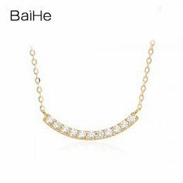 $enCountryForm.capitalKeyWord NZ - BAIHE Solid 18K Yellow Gold 0.11CT Certified Round 100% Genuine Natural Diamonds Women Engagement Trendy Fine Jewelry Necklaces