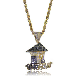 steel houses UK - mens necklace hip hop jewelry with Zircon iced out chains Christmas gift High grade house Pendant necklace stainless steel jewelry wholesale