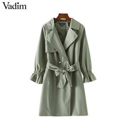 $enCountryForm.capitalKeyWord Canada - Wholesale- Vadim basic pearls double breasted long trench coat bow tie blet army green pockets flare sleeve autumn casual outerwear CT1563