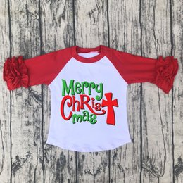 923bf71aa merry christmas baby girls prints raglan ruffle shirt kids boutique cotton  icing tshirt children clothings holiday tops