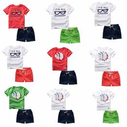Summer Bikes Canada - 44 Styles boys Sets 100%Cotton short Sleeve cartoon bike eyeglass letter print T shirt boys causal summer t shirt + short kids Clothing Sets
