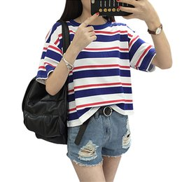 Discount striped shirts for women - Harajuku 2017 Summer Fashion Hit Color Striped Female T-Shirt Loose O-Neck Cute Casual T shirt Girls Street Costume for