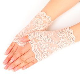 White summer gloves online shopping - Originality Women Lace Pure Color Fingerless Glove Outdoor Driving Cycling Sunscreen Gloves Top Quality Fit Summer cz ff