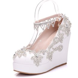 48daa17e8906f7 New Crystal chain round toe shoes for women white heels fashion platform  beading wedding shoes wedge heel shoes Plus Size Bridal heels