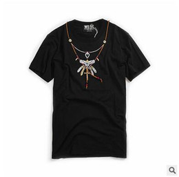 a2fa736e8444 Men S Bohemian Clothing UK - Men's Clothing Tshirt European and American  Tide Brand Turquoise Embroidery
